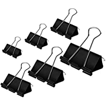 Coofficer Binder Clips Paper Clamps Assorted Sizes 100 Count (Black), X Large, Large, Medium, Small, X Small and Micro, 6 Sizes in One Pack | Meet Your Different Using Needs