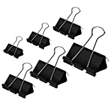 #2: Coofficer Binder Clips Paper Clamps Assorted Sizes 100 Count (Black), X Large, Large, Medium, Small, X Small and Micro, 6 Sizes in One Pack | Meet Your Different Using Needs