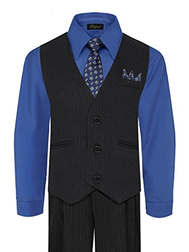 iGirlDress Baby Boys' and Special Occasion Pinstripe Vest Set Black/Royal Blue 12-18Mos