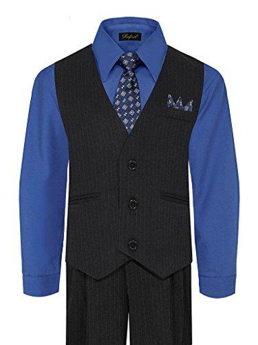 iGirlDress Big Boys' Special Occasion Pinstripe Vest Set Black/Royal Blue 14