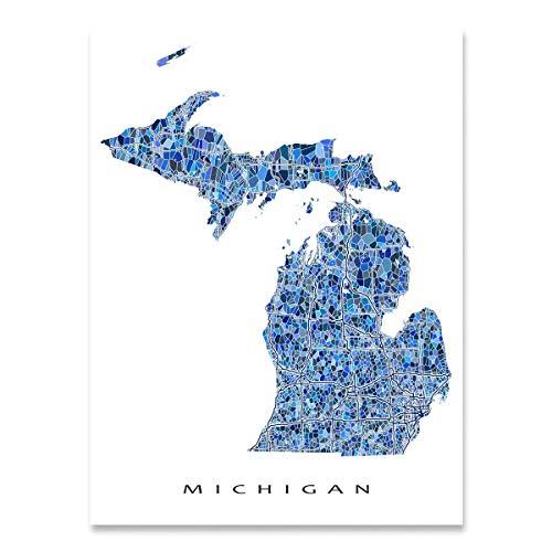 Michigan Map Print, MI State Wall Art Decor, Blue