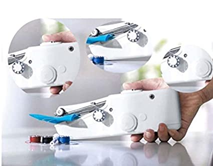 Mini máquina de coser portátil eléctrica. De bolsillo inalámbrico para la casa, en viaje