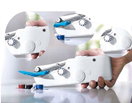 Mini macchina da cucire portatile elettrica. Di tasca senza fili per la casa, in viaggio–Macchina da cucire a mano - HTG