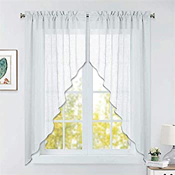 RYB HOME Half Window Swag Curtains, Linen Texture Wave Fabric Semi Sheer Valance for Light Filtering Country Curtains Room Decor, 36 x 63 inches Long, 2 Panels, Stone Grey