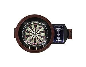 Triumph Sports Omega LED Bristle Dartboard in Round Wood Cabinet
