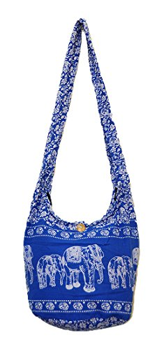 Thai Hippie Hobo Sling Crossbody Shoulder Bag Purse Handmade Zip Colorful Elephant Family Cotton Gypsy Boho Messenger Medium (M1231 (Persian Blue))