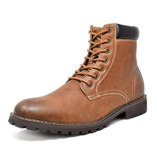 Bruno Marc Men's Oxford Dress Ankle Boots Faux Fur Lining Motorcycle Boots