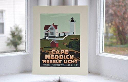 Cape Neddick 'Nubble' Light, Maine Print (8x10 Lighthouse Travel Poster, Wall Decor (Cape Neddick Lighthouse)