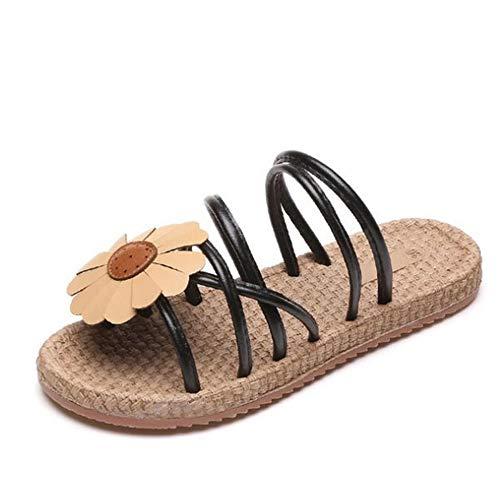 Plates Bohème Femmes Taille Fleurs Noir Chaussures Sandales Vert Couleur EU Antidérapantes Noir Sandales Wangcui 40 wT1Egq8P