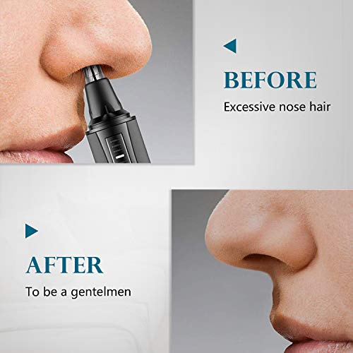 Ear and Nose Hair Trimmer 2021 Professional Painless Eyebrow Facial Ear Hair Trimmer Clipper for Men and Women,Battery-Operated IPX7 Waterproof Dual Edge Blades for Easy Cleansing (Sliver)
