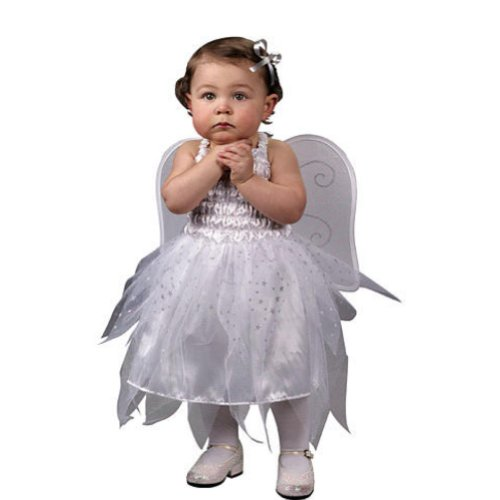 Infant Angel Halloween Costumes (Fun World Infant Girls Baby Angel Costume Dress with Wings 12-24 Months)