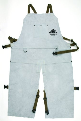 MCR Safety 38242MW 24 by 42-Inch Memphis Split Cow Leather Welding Bib Apron with Split Leg and Front Pocket, Gray