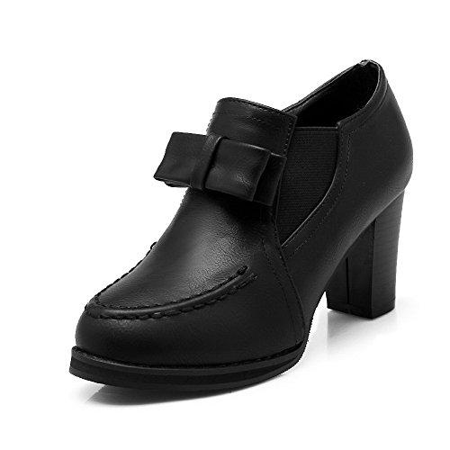 VogueZone009 Women's Round Closed Toe High Heels Solid Zipper Pumps-Shoes Black XUJN9Pptv
