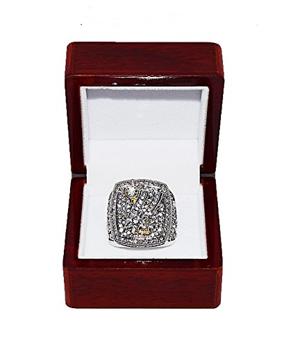SAN ANTONIO SPURS (Tim Duncan) 2014 NBA FINALS WORLD CHAMPIONS Rare & Collectible High-Quality Replica NBA Basketball Silver Championship Ring with Cherrywood Display Box
