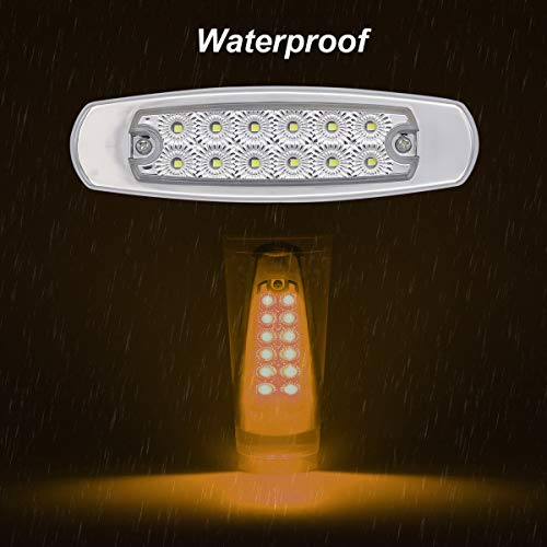 "LedVillage 2 Pcs 6 4"" Clear Lens Amber LED Rectangle Clearance Lamp"