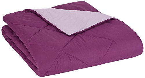 AmazonBasics Reversible Microfiber Bed Comforter, Twin / Twin XL, Plum ()