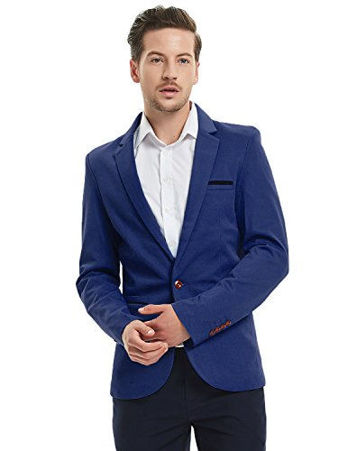 Pishon Men's Slim Fit Suits Casual One Button Flap Pockets Solid Blazer Jacket, Dark Blue, Tagsize3XL=USsizeM