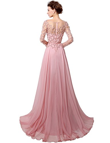 Belle Maison De Bal Perles Formelle Robe De Soirée À Manches Longues Femmes Robe Mauve Hlx051