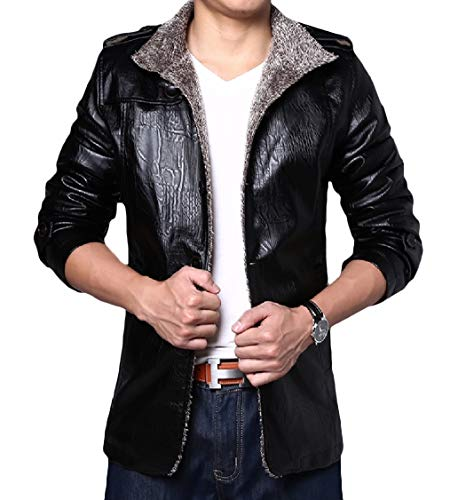 Outwear Energy Coat Velvet Thicken Leisure Men's Leather Jacket Plus Black Trench pErEzqxTw