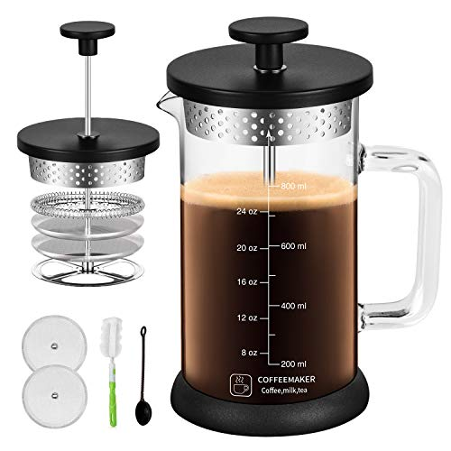 Large Coffee French Press 34Oz with 304 Grade Stainless Steel 4 Level Filter Screens, Built In Thicker Borosilicate Glass, Easy Clean & Using Coffee Press For Home, Kitchen, Office-Black