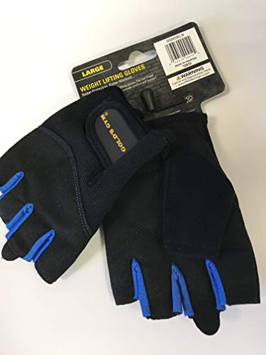Golds Gym Men's Weightlifting Gloves, Black/Royal Blue,