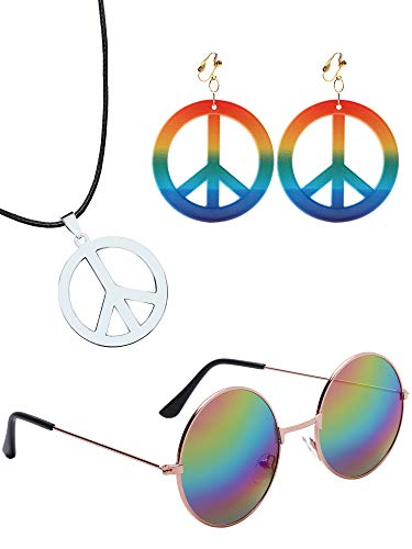Sunshane Hippie Dressing Accessory Set Hippie Glasses Hippie Style Peace Sign Necklace and Earrings (Rainbow)