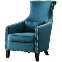 Homelegance Arles Flared Back Accent Chair with Curved Nail Heads Accent Arm And Kidney Pillow, Blue