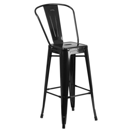 Indoor-Outdoor Barstool, Bistro Style Barstool, Curved Back with Vertical Slat, Drain Hole in Seat, Modern Design, Vintage Style Barstool, Great Option for Indoor and Outdoor Use + Expert Guide by HOME HAVEN LLC