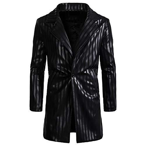 Blazer Jackets One Mens Black Slim Leather RkBaoye Faux Stripe Button Fitting Xwpz4Oq