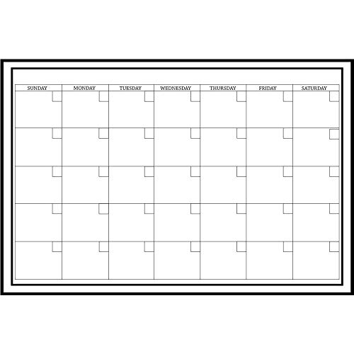 Large White Monthly Dry Erase Calendar Decal