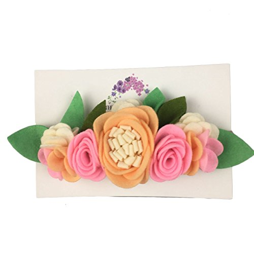 Peach and Pink Handmade Felt Flower Headband - Floral Crown for Toddlers and Girls/Great for Birthday Parties or Halloween for $<!--$10.97-->