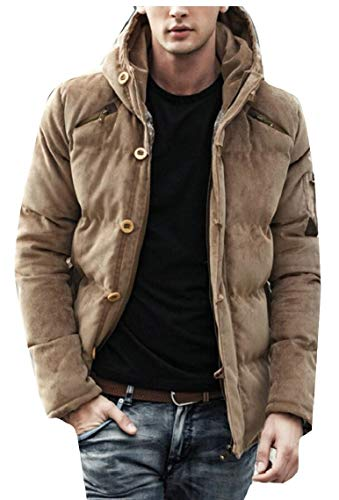 Jackets Khaki Casual Coats Gocgt Men's Down Corduroy Winter Thicken Padded xvw0nwzaq