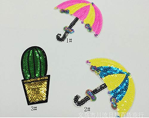 5Pcs/Lot Eyes Embroidered Embroidery Needlework Sewing Patch Patchwork Patches Iron-On Appliques Umbrella Sequined Cute Sewing Fabric Cloth Handmade DIY Craft Clothes Bag Shoes Apparel Accessory from JYOLY