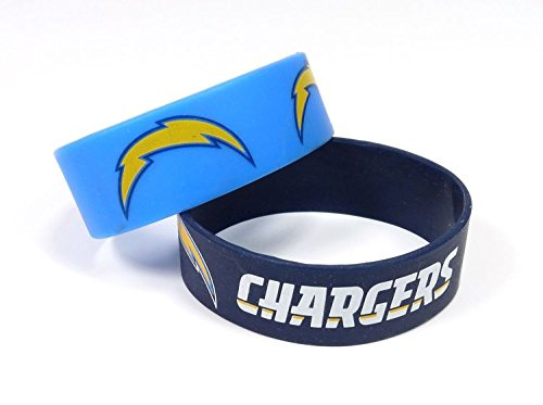 NFL San Diego Chargers Silicone Rubber Bracelet, 2-pack -