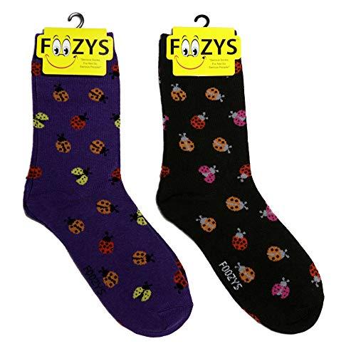 Foozys Women's Crew Socks | Ladybug Cute Farm Novelty Socks | 2 Pair -