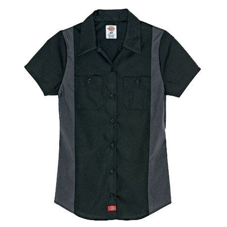 Dickies Occupational Workwear FS524BKCHL FS524 Womens Short Sleeve Color Block Shirt, Fabric, Large, Black/Charcoal