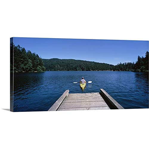 GREATBIGCANVAS Gallery-Wrapped Canvas Entitled Rear View of a Man on a Kayak in a River, Orcas Island, Washington State by 48