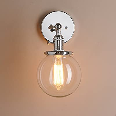 "Pathson Industrial Vintage Wall Lamp Dia 5.9"" with Round Clear Glass Globe Shade Loft Simple Home Design Wall Light Fixture Wall Mount Light Sconces"