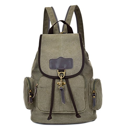 Leisure Canvas Shoulder Bag Outdoor Green Backpack Travel Multi Laidaye purpose Business aBUCqgwnw