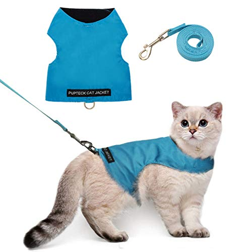Escape Proof Cat Harness with Leash Set - Adjustable Fleece Walking Jacket - Soft and Light Weight for Kittens, Puppies - Blue Large