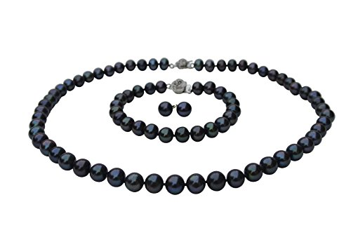 Long 20'' 8'' inch set Genuine 9-10mm AAA ROUND Black Strand Pearl Necklace Bracelet Stud Earrings 3pc set Cultured Freshwater Matinee Length by Pearl Romance