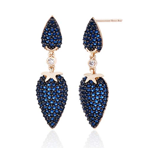 OVLIST 18k Gold Plated Micro Pave Navy Blue Cubic Zirconia Crystal Marquise Rhinestone Drop Earrings