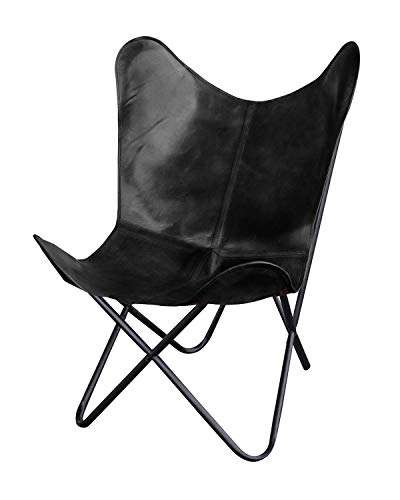 Natural Leather Butterfly Chair in Black (Black)