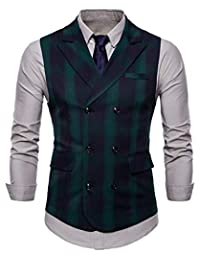 LifeHe Men's Vintage Slim Fit V Neck Double-Breasted Plaid Dress Suit Vest Waistcoat