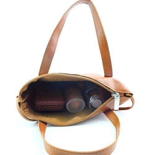 taille cuir en Red Sac synthétique à main bandoulière Brezeh Cabas grande Taille marron avec unique wHTzqI