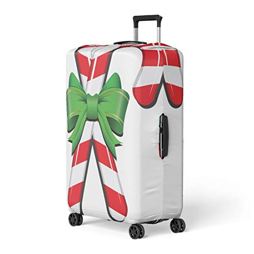 Pinbeam Luggage Cover Green Bow Realistic Candy Cane Ribbon Red Holly Travel Suitcase Cover Protector Baggage Case Fits 26-28 ()