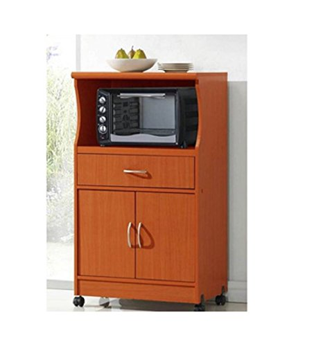 Microwave Cart Stand - Cherry Finish - One Shelf for the Microwave and Another Shelf Above Plus a Drawer and Cabinet Below by Hodedah