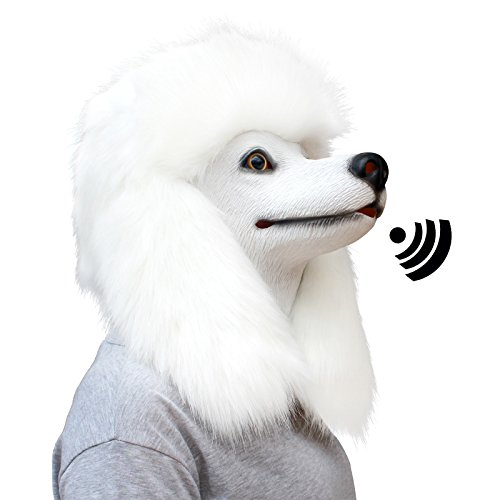 CreepyParty Deluxe Halloween Costume Party Latex Animal Dog Head Mask Sounding Poodle (Sounding)