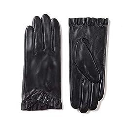 ZEN ELK Women's Frill Trimming Sheepskin Leather Gloves #41