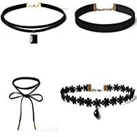Hunputa 4 Pieces Choker Necklace Set Stretch Lace Velvet Classic Gothic Tattoo Lace Choker